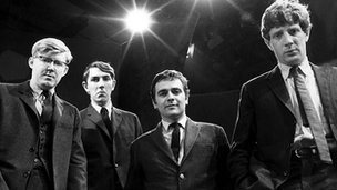 Alan Bennett, Peter Cook, Dudley Moore and Jonathan Miller in Beyond the Fringe