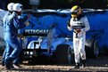 Lewis Hamilton of Great Britain and Mercedes GP walks away from his car after crashing into the gravel at turn six during Formula 1 winter testing at Circuito de Jerez