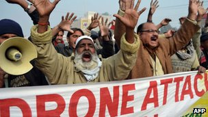 Pakistani demonstrators shout anti-US slogans during a protest in Multan on 8 January 2013