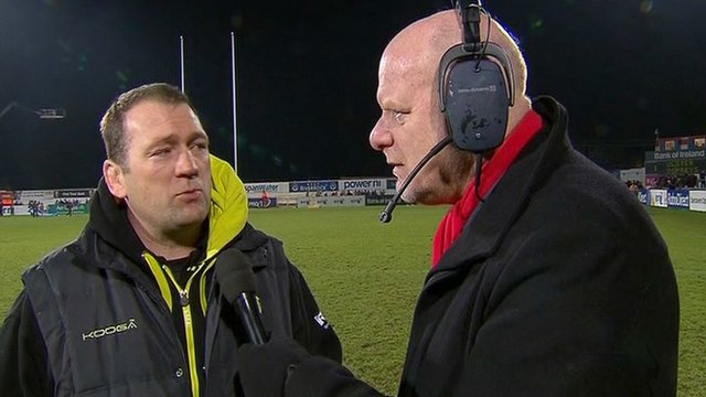 Ospreys forwards coach Jonathan Humphreys with Scrum V reporter Phil Steele