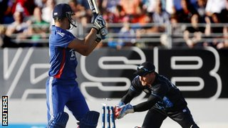 Brendon McCullum stumps Alex Hales