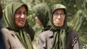 Female members of the People's Mujahideen Organisation of Iran (PMOI) at Camp Hurriya (Liberty) in September 2012