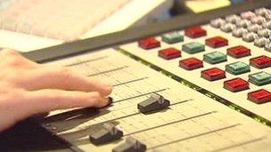 Faders in studio