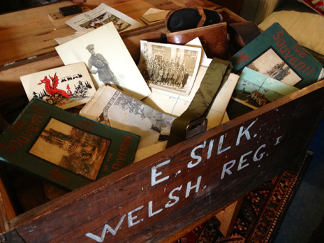 Captain Evan Silk's trunk of World War I letters and other artefacts