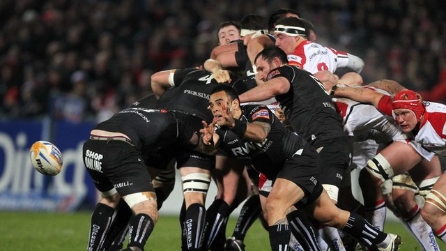 Match action from Ulster against Ospreys