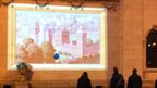 Painting projected onto Ferens Art Gallery in Hull