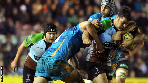 Harlequins' Nick Easter in action against Wasps at The Stoop