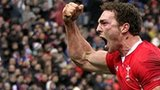 Wales wing George North celebrates his crucial try