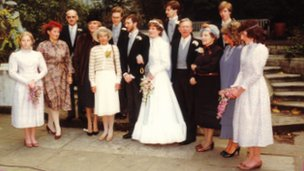 Patricia Hughes (4th left) at the wedding of Sue and Chris Hancock