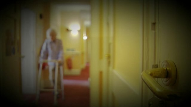 Anonymous elderly woman with walking frame