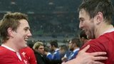 Wales centre Jonathan Davies and victorious captain Ryan Jones