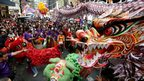 Dragon and lion dancers perform in Manila in the Philippines (10 February 2013)