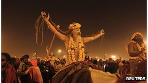 A Sadhu or Hindu holy man at the Kumbh Mela