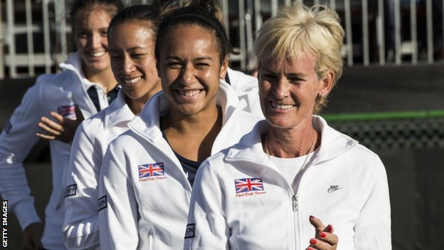 Judy Murray with members of her GB Fed Cup team