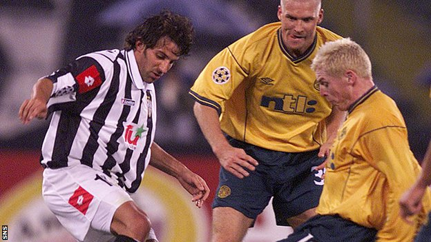 Celtic management pair Neil Lennon and Johan Mjallby challenge Alessandro Del Piero