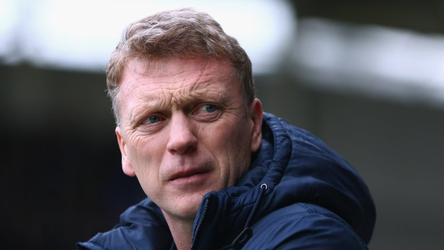 Everton manager David Moyes watches his team in action