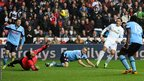 Angel Rangel doubles Swansea's lead 10 minutes later with his second goal of the season.