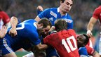 Wales fly-half Dan Biggar finds there is no way through the France defence in their Six Nations clash at Stade de France