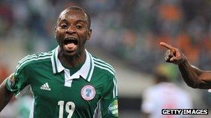 Nigeria goalscorer Sunday Mba