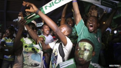 Nigerians celebrate victory at the Africa Cup of Nations