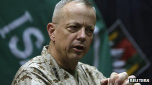 General John Allen, the commander of US and Nato forces in Afghanistan, speaks during an interview in Kabul on 9 February 2013