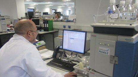 Scientist testing pills