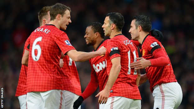 Manchester United's Ryan Giggs (11) is congratulated by his team-mates