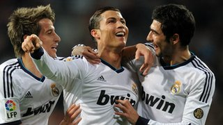 Cristiano Ronaldo with Real Madrid team-mates
