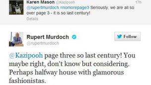 Screen grab of Rupert Murdoch's tweet