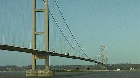 The Humber bridge from the south bank
