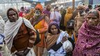 Hindu devotees move through Allahabad train station, the site of last night&#039;s stampede, during the Maha Kumbh Mela on February 11, 2013 in Allahabad, India