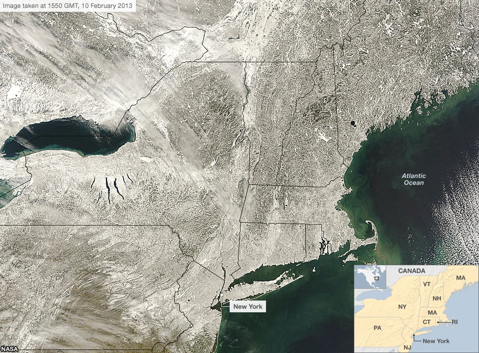 Satellite image from 10 February shows the north eastern USA blanketed with snow