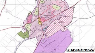 A map of proposed site for by-pass in Ballasalla