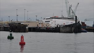 Guernsey's St Peter Port Harbour: Passenger terminal and Condor Rapide ferry