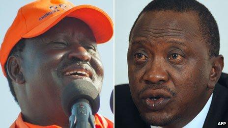 Raila Odinga (l) Uhuru Kenyatta (r)