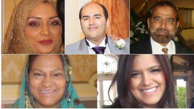 Bilques Hayat, Mohammed Isshaq, Shaukat Ali Hayat, Abida Hayat and Saira Zenub all died in the crash