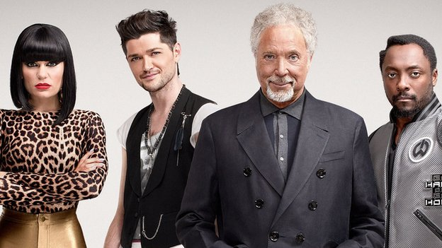 A publicity still from The Voice UK featuring Jessie J, Danny, Tom and Will
