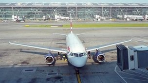 An aeroplane at Heathrow Airport