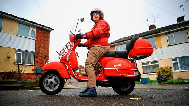 Maureen Lear on her scooter