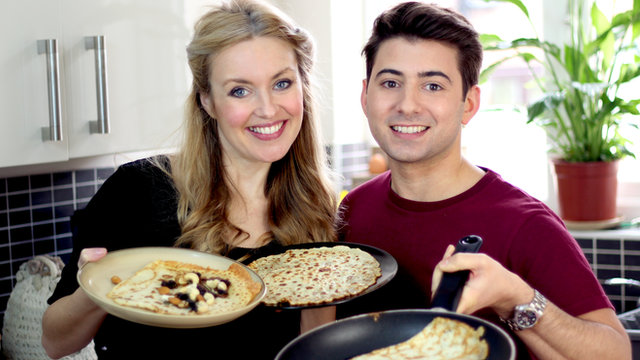 Hayley Cutts and Ricky Boleto making pancakes