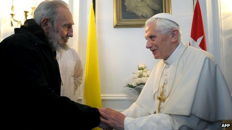 Pope Benedict shaking hands with Fidel Castro in Cuba, 28 March 2012