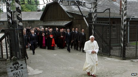 Pope Benedict walking through the gates of the Nazi death camp at Auschwitz, 28 May 2006