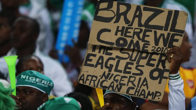 A Nigerian fan at Sunday's Africa Cup of Nations final in Johannesburg