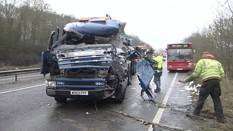 Lorry crash on A12