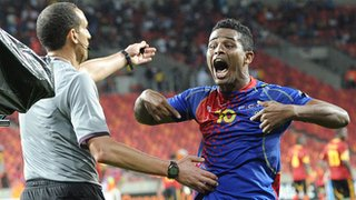 Cape Verde striker Heldon Ramos celebrates his historic goal against Angola