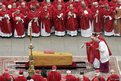 Incense is cast over the coffin of Pope John Paul II by German Cardinal Joseph Ratzinger