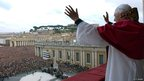 Newly elected Pope gestures to the crowd in St Peter&#039;s Square