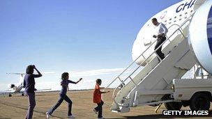 Obama and his family (2008) in Puebla, Colorado