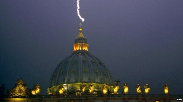 "Lightning strikes St Peter""s dome at the Vatican"