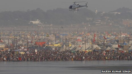 Helicopter flying low over Kumbh Mela on 10 February